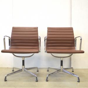 Vitra EA108 Alu Chair Cognac Leather Eames Interior Aksel Aachen
