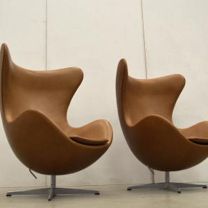 Fritz Hansen Egg Chair Arne Jacobsen Cognac Leather Interior Aksel Worldwide Delivery London Paris